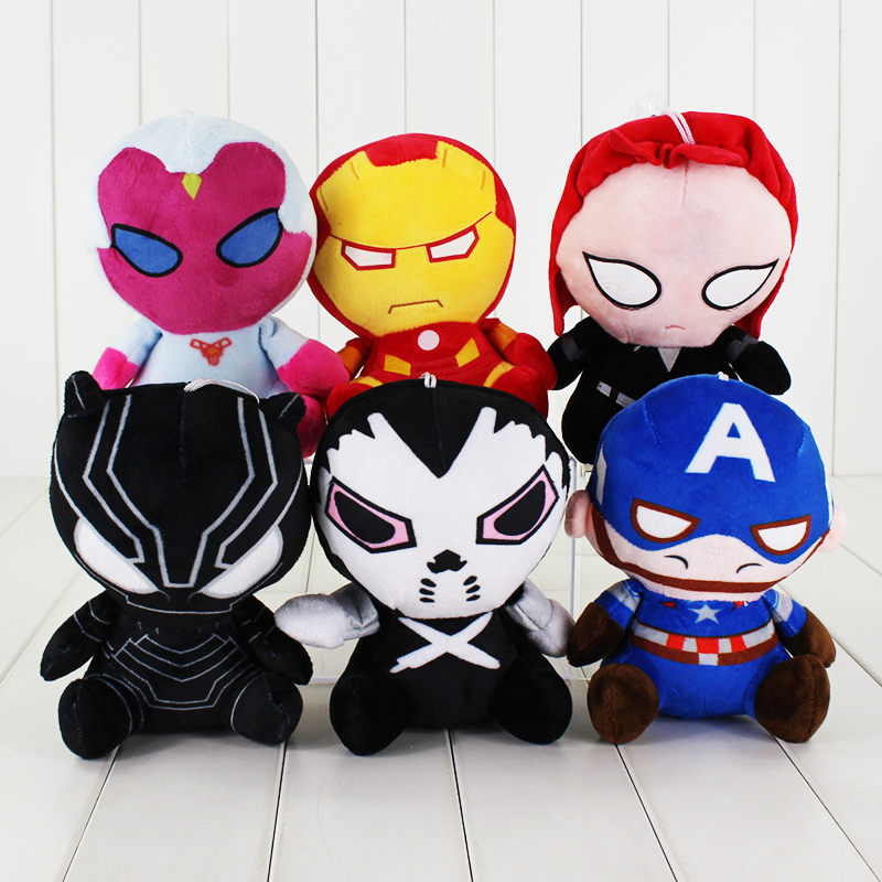 New2016 Marvel Avengers plush toys Iron Man Captain America Hulk Thor SpiderMan BatMan SuperMan Film Soft