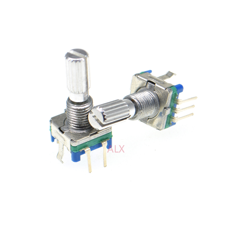2x Rotary Encoder EC11 Audio Digital Potentiometer with switch 5-Pin handle 20MM