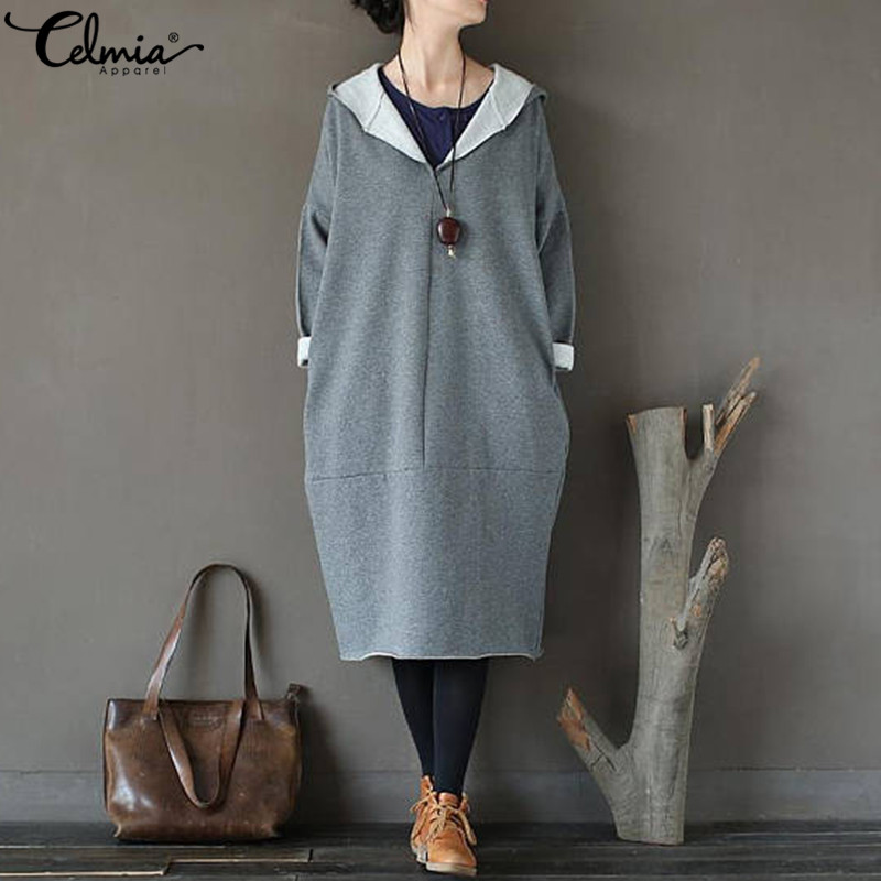 Celmia Plus Size Women Vintage Dress 2018 Autumn Casual Loose Long Hoodies  Sweatshirt Long Sleeve Hooded Dresses Midi Vestidos-in Dresses from Women s  ... 8d16fcb137a4