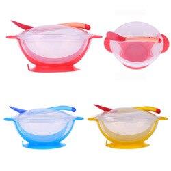 3 Шт./компл. Детские Всасывания Чаша с Измерения Температуры Ложка Посуда Посуда Ребенка Кормушками