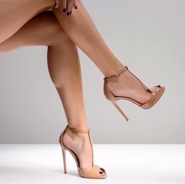 Personnalisé En Cuir Nude T Sangle Pompes à Talons Hauts 12 CM Peep Toe Cheville Sangle découpée Pompes Femmes Chaussures t bar Banquet Chaussures - 5