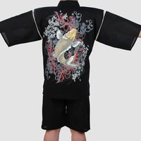 Men Cotton Yukata Kimono Suit Men Japanese Traditional Pajamas set Short Sleeve Tracksuit Top Pants with Fish embroidery pattern