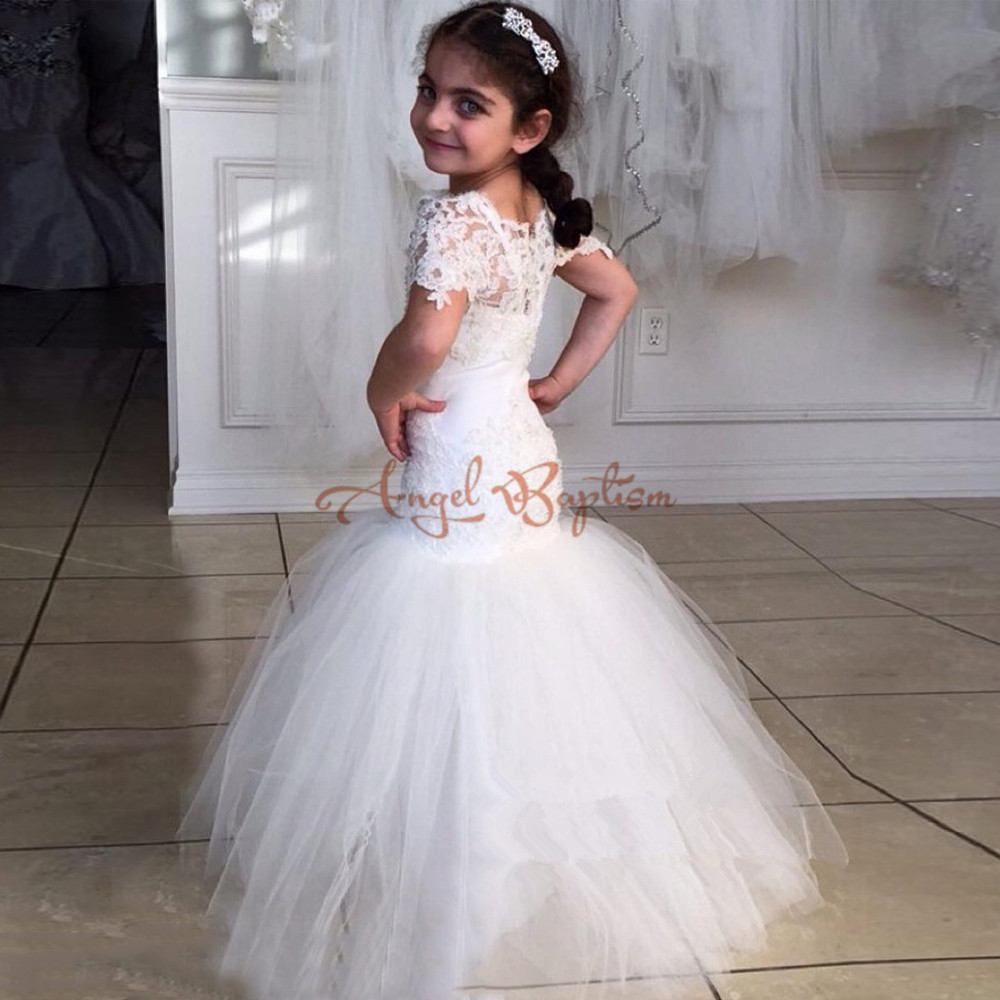 New Mermaid Flower Girl Dresses For Party White/Ivory sheer Lace First Communion Dress 2017 Cheap Vestidos Custom made white ivory butterfly lace flower girl dress bow sash sleeveless a line vestidos longo custom made first communion gown 2017
