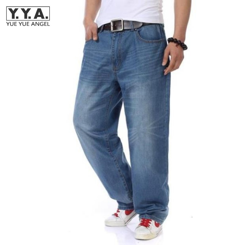 Mens Casual Loose Denim Jeans Pants Baggy Plus Size 30-46 Retro Washed Full Length Trousers Hip Hop Streetwear Free Shipping denim straight leg loose mens trouser jean chic pants baggy pocket cargo pants trousers loose jeans blue plus size free shipping