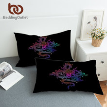 BeddingOutlet Dragon Totem Pillowcase Colorful Printed Decorative Pillow Case Chinese Myths Pillow Cover Adults Bedding 2pcs(China)