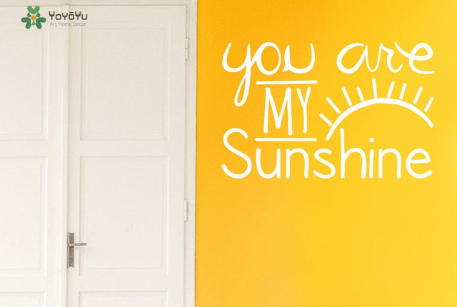 Kids Room Wall Decal Quotes You Are My Sunshine Vinyl Wall Stickers Eye  Eyelash Pattern Home