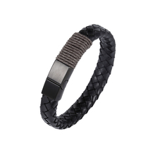 2018 Fashion men purely hand-knitted first leather bracelet brown twine stainless steel jewelry women gift lovers 9 size choose