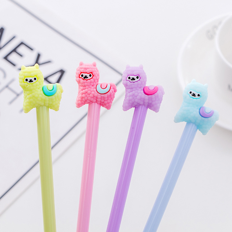 36pcs Creative Cute Alpaca Animal Neutral Pen Black Water Pen Student Prize Neutral Pen Stationery