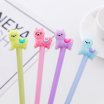 цены 36pcs creative cute alpaca animal neutral pen black water pen student prize neutral pen stationery