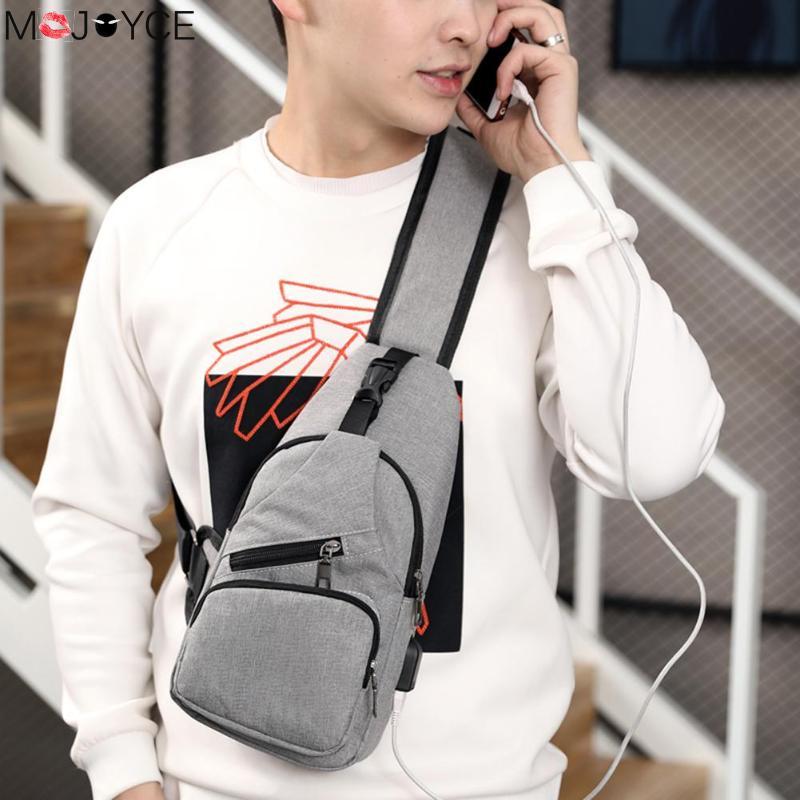 Men Chest Pack Single Shoulder Strap Crossbody Bag Canvas USB Charging Sling Shoulder Bag Back Pack Travel Male Chestbag mochila все цены