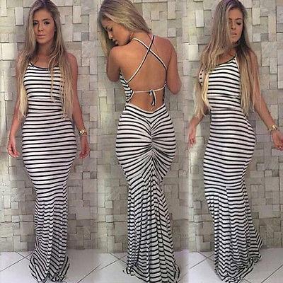 Women Summer Vintage Boho Striped Long Maxi Evening Party Beach Dress Backless Strap Sundress Women Clothes