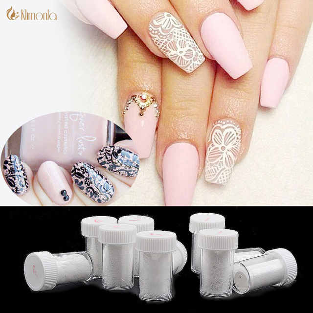1 St Witte Kant Nail Stickers Nail Art Water Transfer Folie Lace