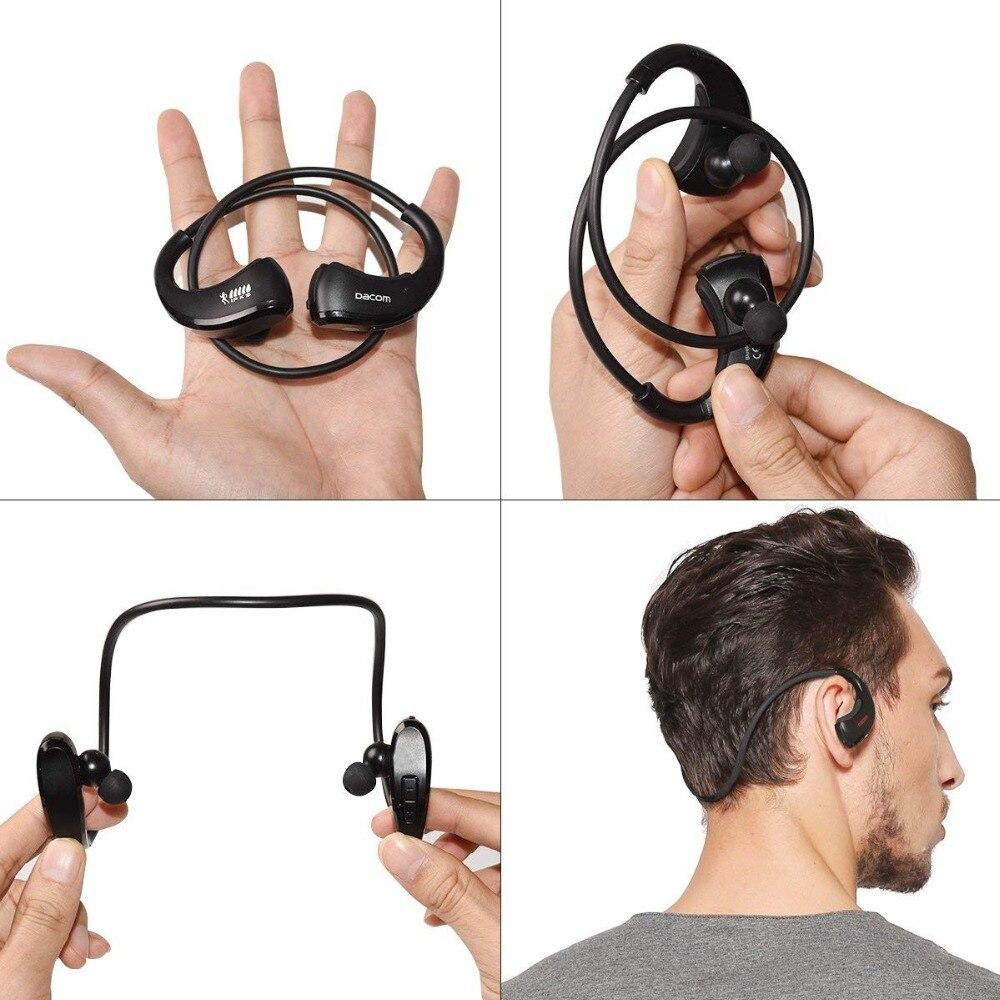 Dacom armadura impermeable del deporte auriculares inalámbricos auriculares Bluetooth auricular de Audio estéreo de auriculares con micrófono de manos libres para correr - 5