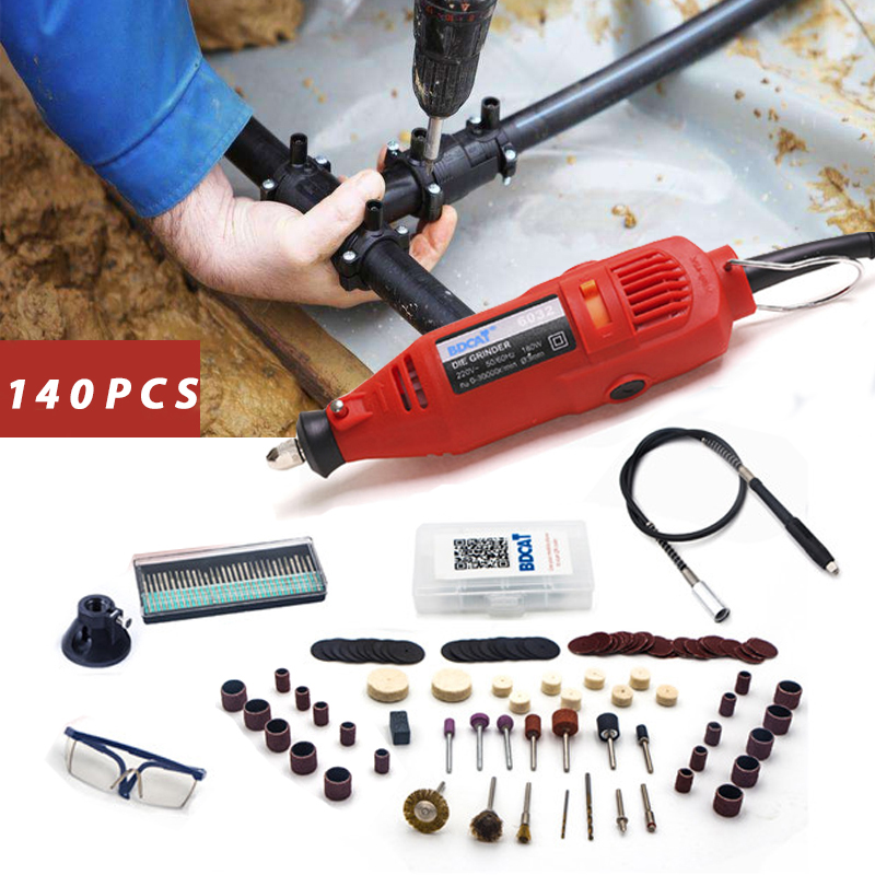 цена на BDCAT 180w engraver Electric Dremel Rotary Tool Variable Speed Mini Drill Grinding tools with 140pcs Power Tools accessories