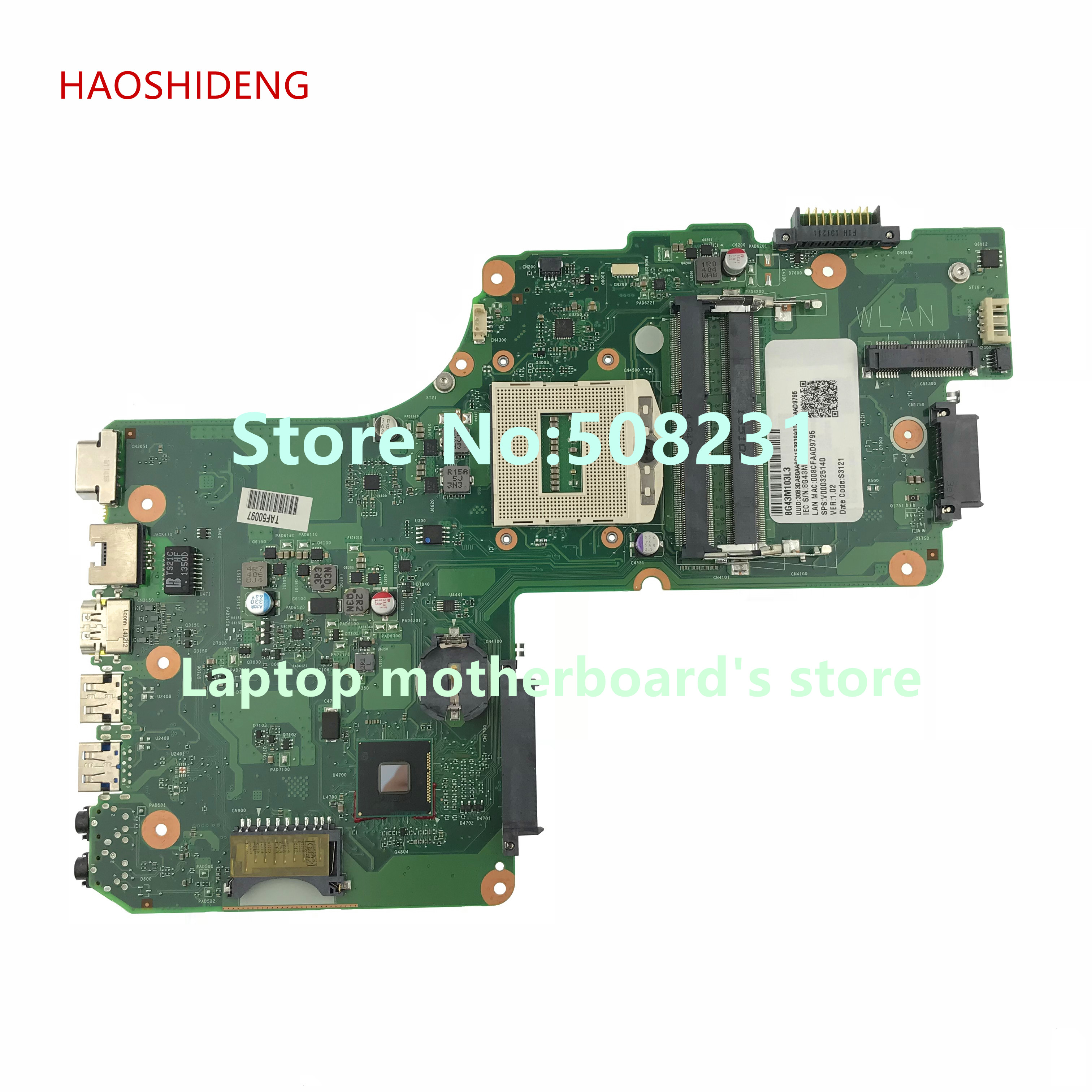 HAOSHIDENG V000325140 DB10S-6050A2557501-MB-A02 for Toshiba Satellite C55 C55-A C55-A5166 Laptop Motherboard socket PGA 947 combbind c55