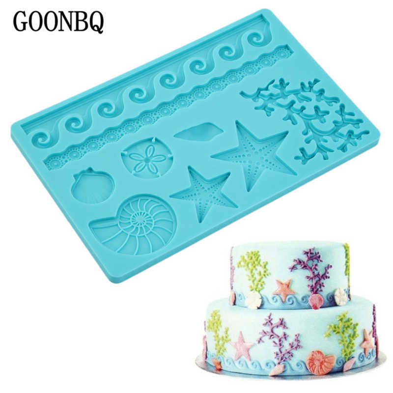 GOONBQ 1 pc Sea Life Shape Fondant Mold Silicone Shell Conch Wave Cake Mold DIY Cake Gum Paste  Decorating Tool