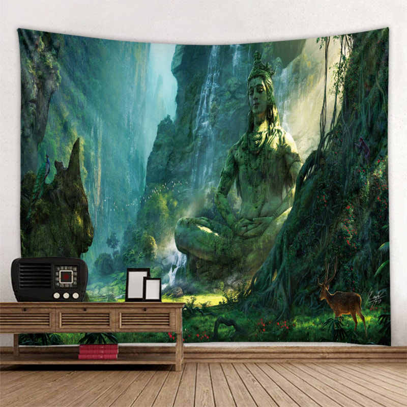 Buddha Di Dasar Lembah Yang Prainted Wall Hanging Permadani Mandala Bohemia 5 Ukuran Perjalanan Tidur Pad Kain Poliester