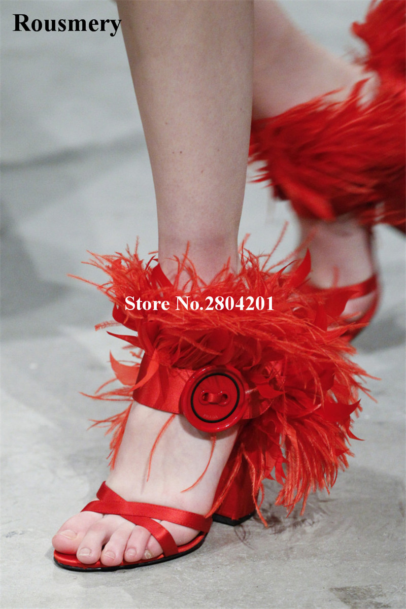 2018 New Stylish Women Sandals Peep Toe Chunky Heel Feather Button Solid Color Fashion Girls Wedding Party Dress Shoes Women яйцеварка steba ek 3