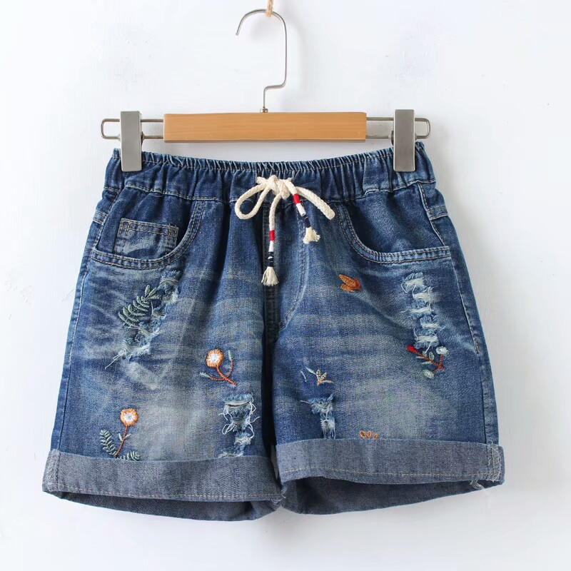 Summer New Elastic Lace Embroidered Lace Denim Jeans Shorts Female Casual