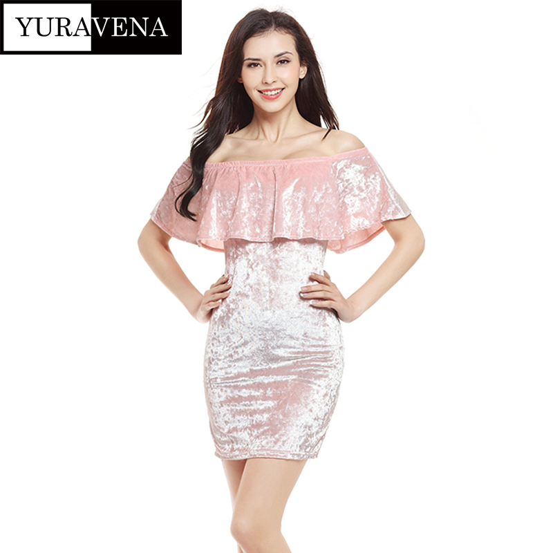 Sexy Women Summer Elegant Velvet Pencil Dress bodycon Pink Women's Evening Party Dress off shoulder Dresses Strapless Female