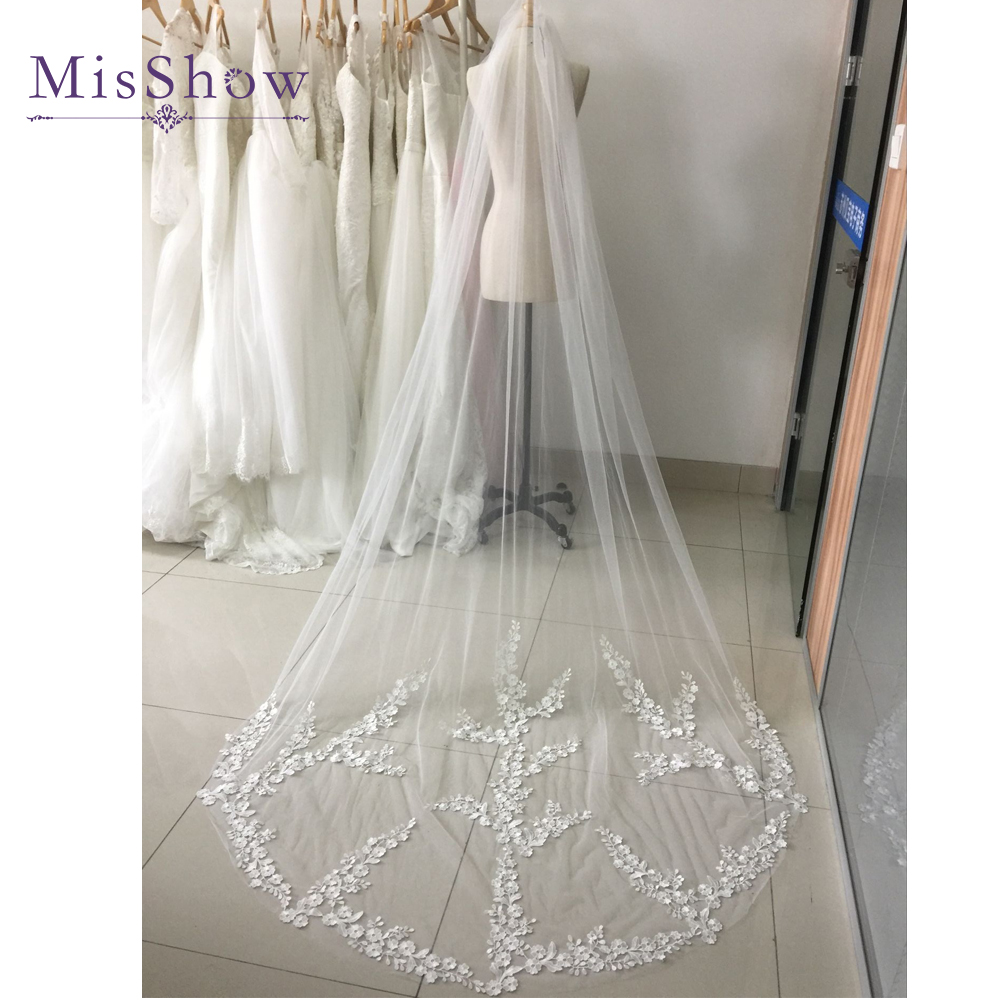 Real Photo Cheap One Layer White Ivory Cathedral Wedding Veil With Comb Lace Tulle Applique Long Bridal Veil Wedding Accessories
