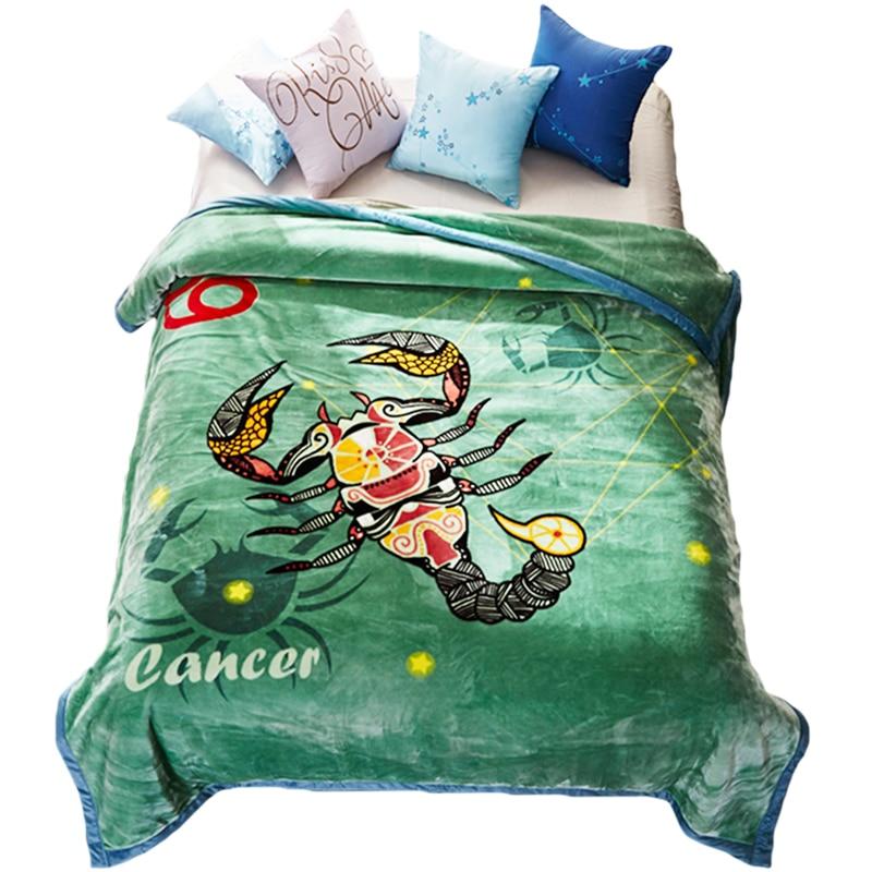 침대에 대한 부드러운 따뜻한 솜털 밍크 담요 12 별자리 인쇄 더블 레이어 겨울 두꺼운 담요-에서담요부터 홈 & 가든 의  그룹 1