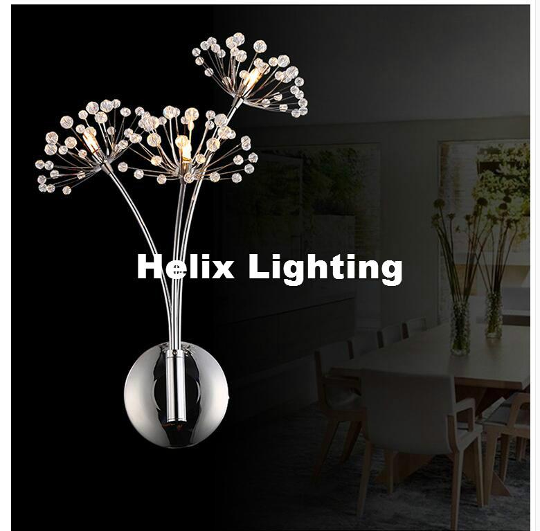 Free Shipping Modern G4 Art Decor Stainless Steel Plating LED Crystal Wall Light Lamp Bedroom Home Wall Sconce Bracket Lighting