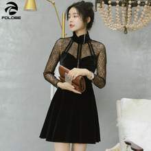 FOLOBE vintage woman spring velvet dress mesh patched feamle party dress  black lady dress long sleeve ed1f9ee0285f