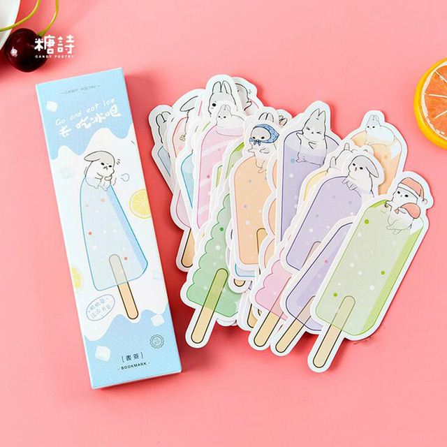 n53 30pcs pack cool summer style ice cream decorative paper bookmark