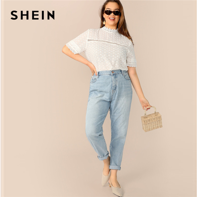 SHEIN Boho Plus Size White Contrast Lace Insert Schiffy Stand Collar Plain Top Blouse Women 2019 Spring Casual Top Blouses 3