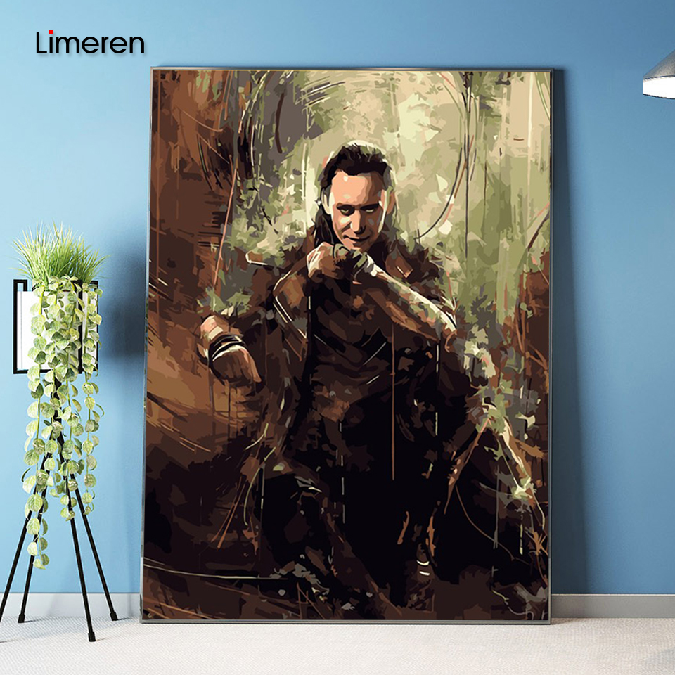 No Frame Picture On Wall Acrylic Coloring By Numbers DIY Oil Painting By Numbers Unique Gift Home Decor The Avengers Loki