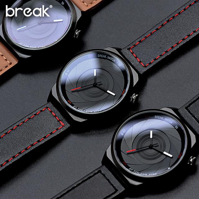 BREAK Photographer Series Unique Camera Style Stainless Strap Men Women Casual Fashion Sport Quartz Modern Gift Wrist Watches