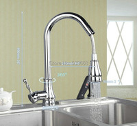 Good Quality Pull Out Down Chrome Brass Water Kitchen Sink Basin Vessel Deck Mounted Single Handle