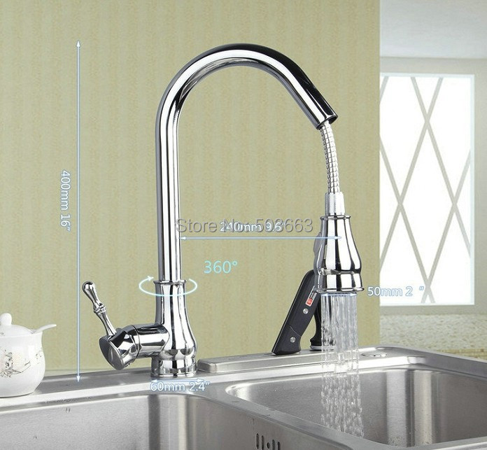Good Quality Pull Out&Down Chrome Brass Water Kitchen Sink Basin Vessel Deck Mounted Single Handle MF-1179 Mixer Tap Faucet good quality chrome finished pull out