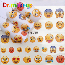 Dr.makeup Hot Sale 1 Sheet Water Transfer Nail Sticker Emoji Black Cartoon Hollow Nail Decals for Manicure Nail Art Decoration стоимость