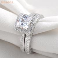 Wholesale 2 8 Carat Princess Created Diamond White Gold Plated Wedding Band Engagement Ring Set Jewelry