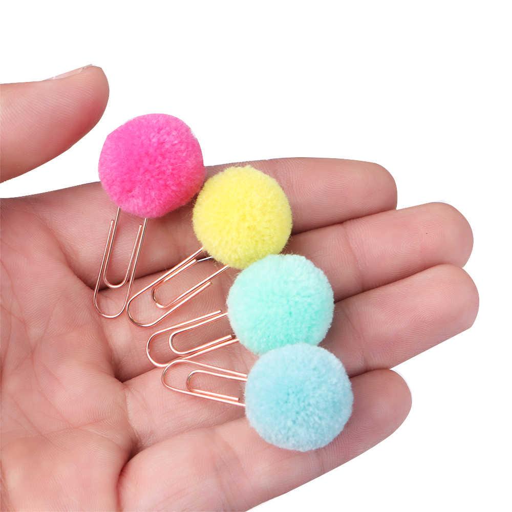 10 шт./компл. Симпатичные Hairball розовое золото, клипс моделирование плюшевый мяч канцелярская Скрепка Закладка школьные принадлежности канцелярские файл зажим