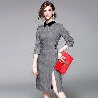 Office Dress 2017 Autumn Woman Fashion Peter Pan Collar Gray Plaid Half Sleeve Elegant Slim Split