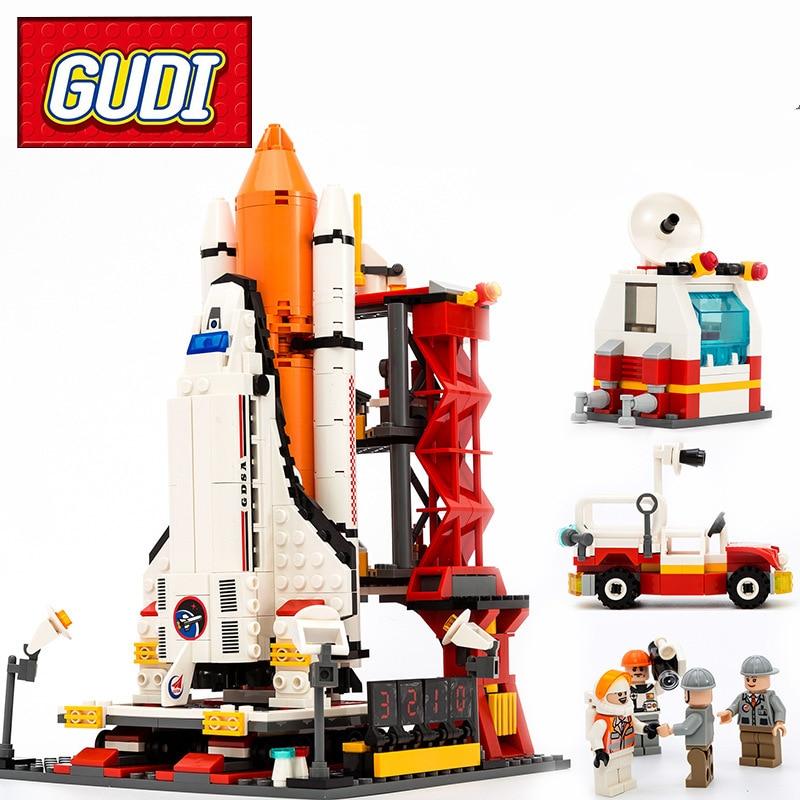 GUDI 8815 Ville Port Spatial Navette Spatiale Building Block Sets 679 pcs Espace Center DIY Briques Éducatifs Jouets Classiques Pour Enfants