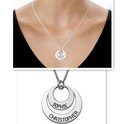 Wholesale Mother Daughter Nameplate Necklace Engraved Name Disc Stack Double Pendent Personalized Jewelry Mom Grandmother Gift ampeg micro cl stack