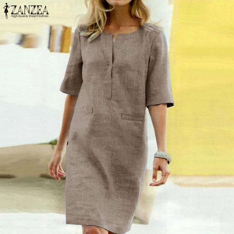 2020 ZANZEA Elegant Women O Neck Short Sleeve Midi Dress Summer Solid Long Shirt Dress Robe Work Sundress Femme Party Vestido 1
