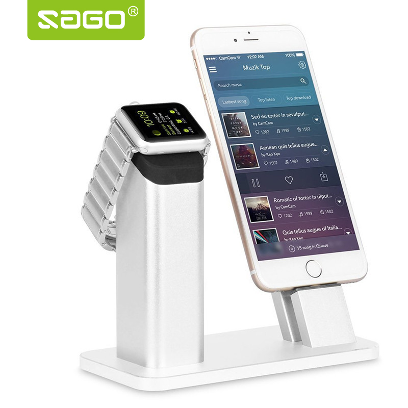 Sago <font><b>Charging</b></font> Dock For Mobile <font><b>Phone</b></font> <font><b>Stand</b></font> Holder Apple Watch Dock Station for Iphone 6/7 Plus Charger Holder with High Quality