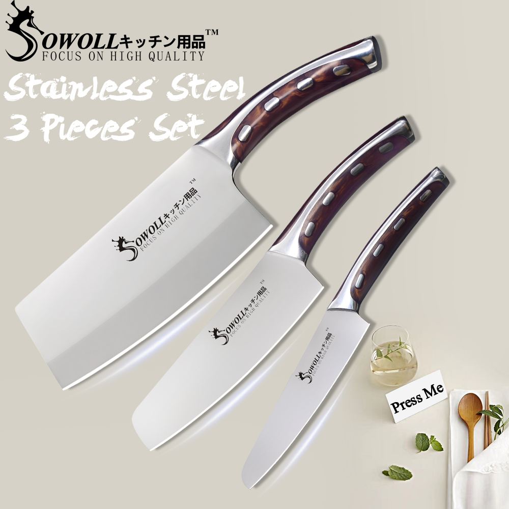 Sowoll 4CR14 Stainless Steel Knife Kitchen Knife Set Resin Fibre Handle High Carbon Blade Utility Chef