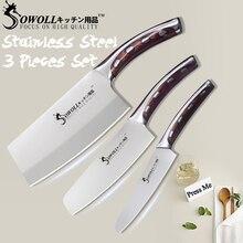 Sowoll 4CR14 нержавеющая сталь ножи кухня комплект смолы волокна ручка высокоуглеродистой резак шеф повар разделочные пособия по кулинарии