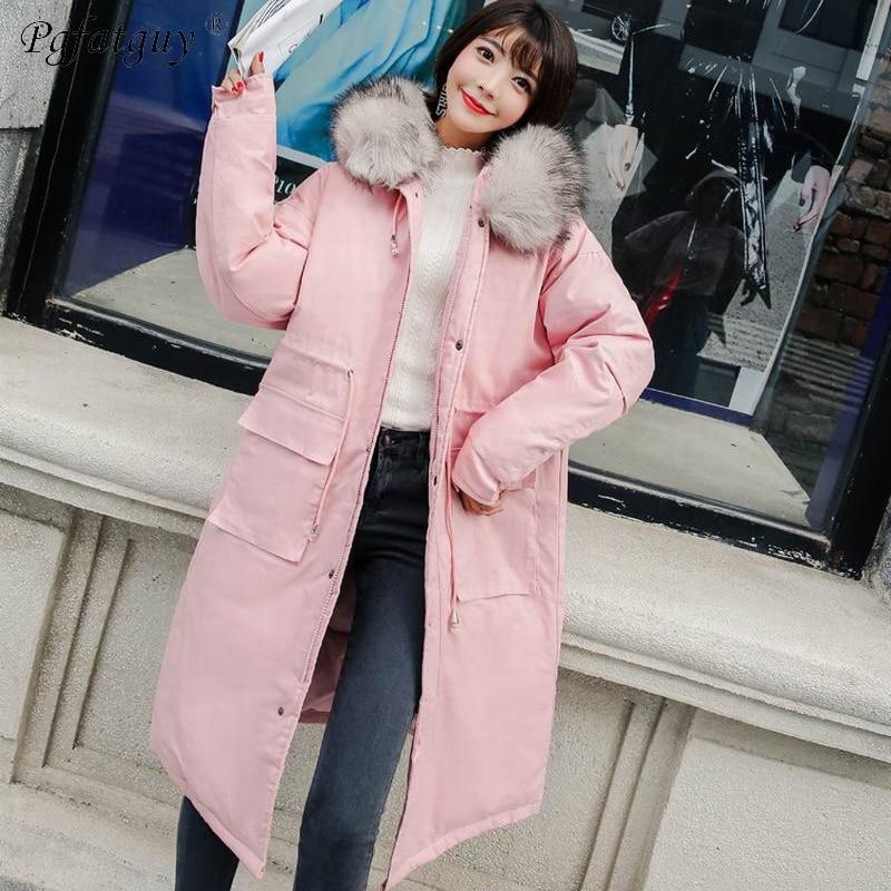 De Mince 2018 Capuchon Outwear X Nouveau Parkas rouge rose Fourrure Femelle À Vestes D'hiver Taille Col Noir vert Réglable Femmes long blanc Épaissir Chaud Manteaux Grand 6dTdPq