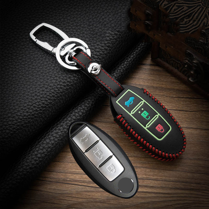 Hand Sewing Luminous Leather Car Key Case Cover For Nissan Tidda Livida X-Trail T31 T32 Qashqai March Juke Pathfinder Keychain
