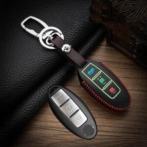 Hand sewing Luminous Leather Car Key Case Cover For Nissan Tidda Livida X-Trail T31 T32 Qashqai March Juke Pathfinder Keychain(China)