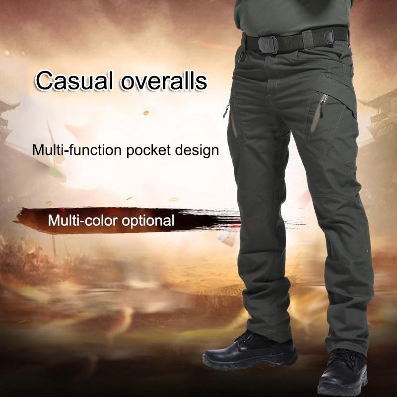 Men Trousers Solid Color Tactical Waterproof Multi-pockets Long Pants HSJ88