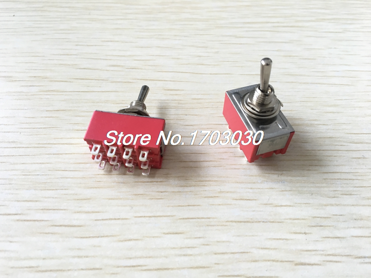 AC 125V 6A 4PDT ON/OFF/ON 3 Positions 12 Pin Electric Toggle Switch Red 2pcs 5pc lot free shipping new long flat handle 3 pin on off on spdt cqc rohs silvery point rocker toggle switch ac 6a 125v 3a 250v