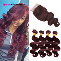 Top 7A Burgundy Peruvian Body Wave With Closure 99J Red Hair Bundles With Lace Closures 4x4 Swiss Lace Closure With 4 Bundles